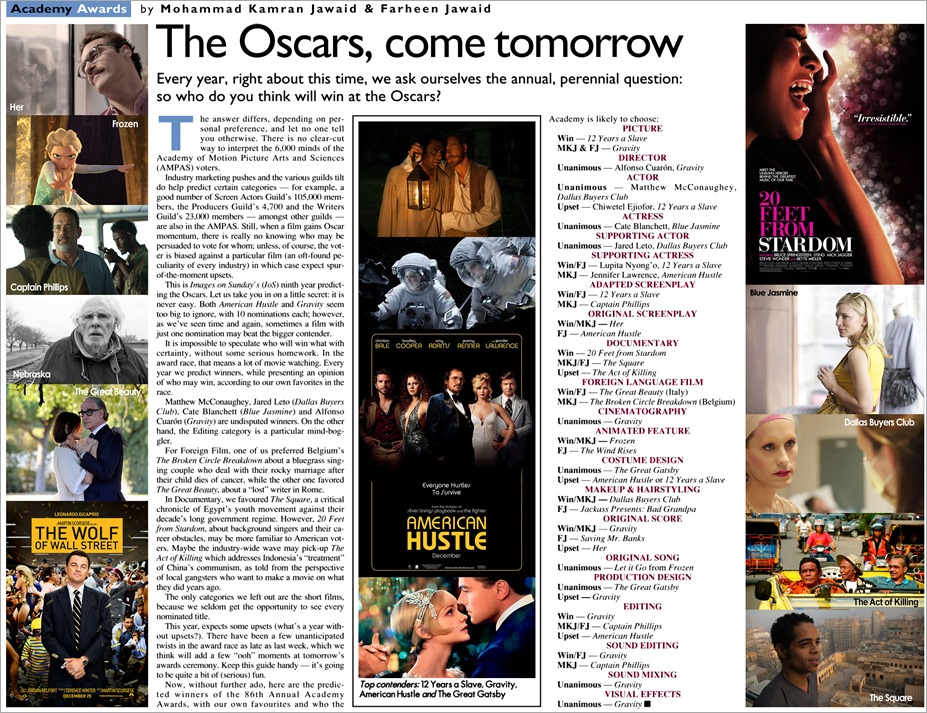 Oscar Predictions 2014 - Blog