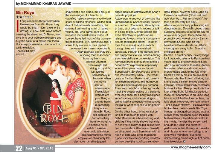 Bin Roye Review in MAG the Weekly by Kamran Jawaid